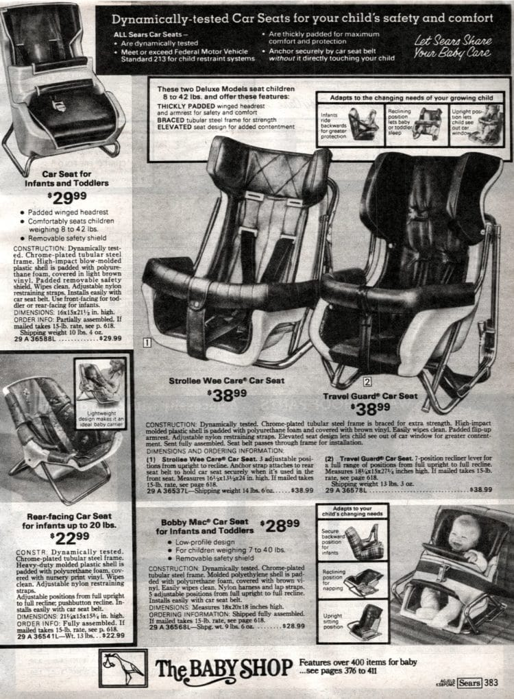 Baby car seats from Sears in 1979