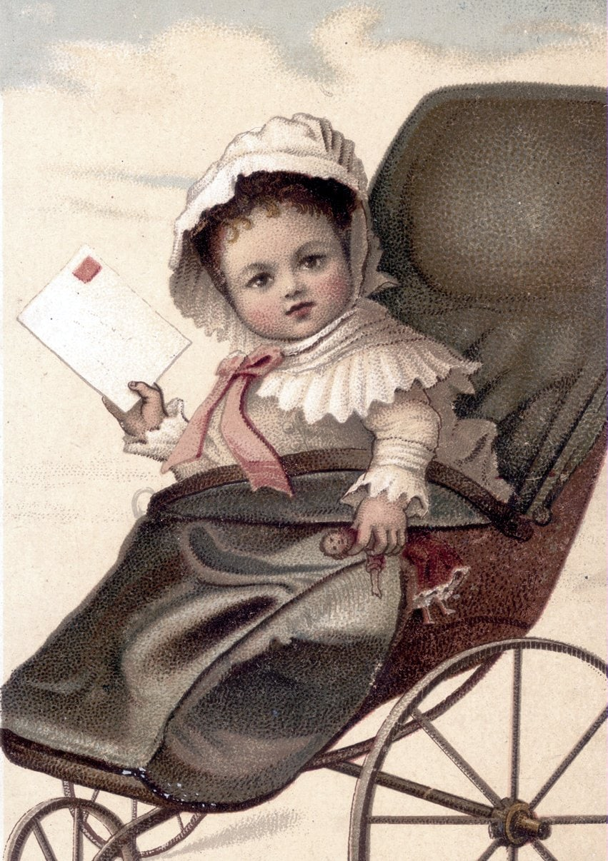 Baby in a carriage with a letter to mail (c1890s)