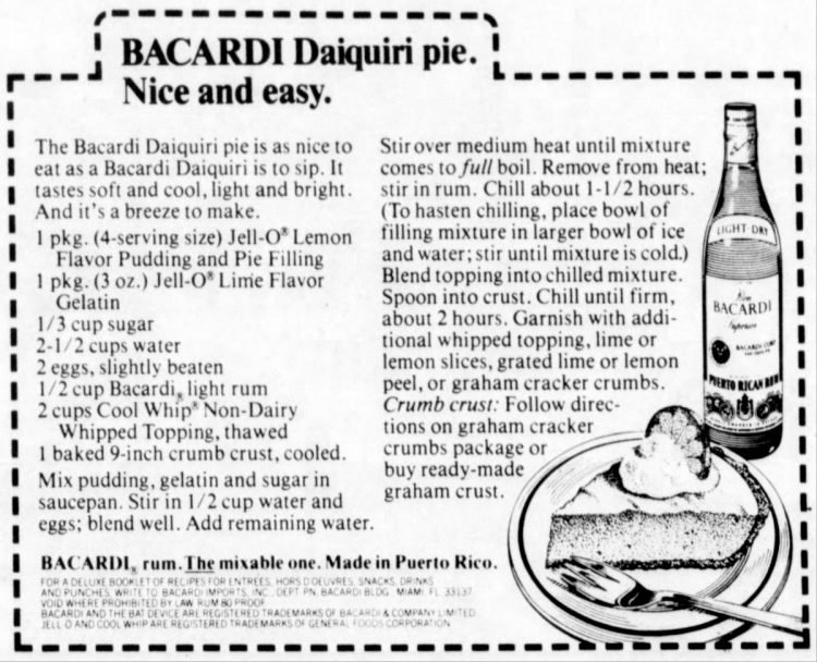 Bacardi daiquiri pie vintage recipe card