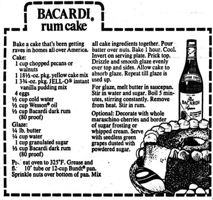 Bacardi rum cake newspaper recipe card from 1978