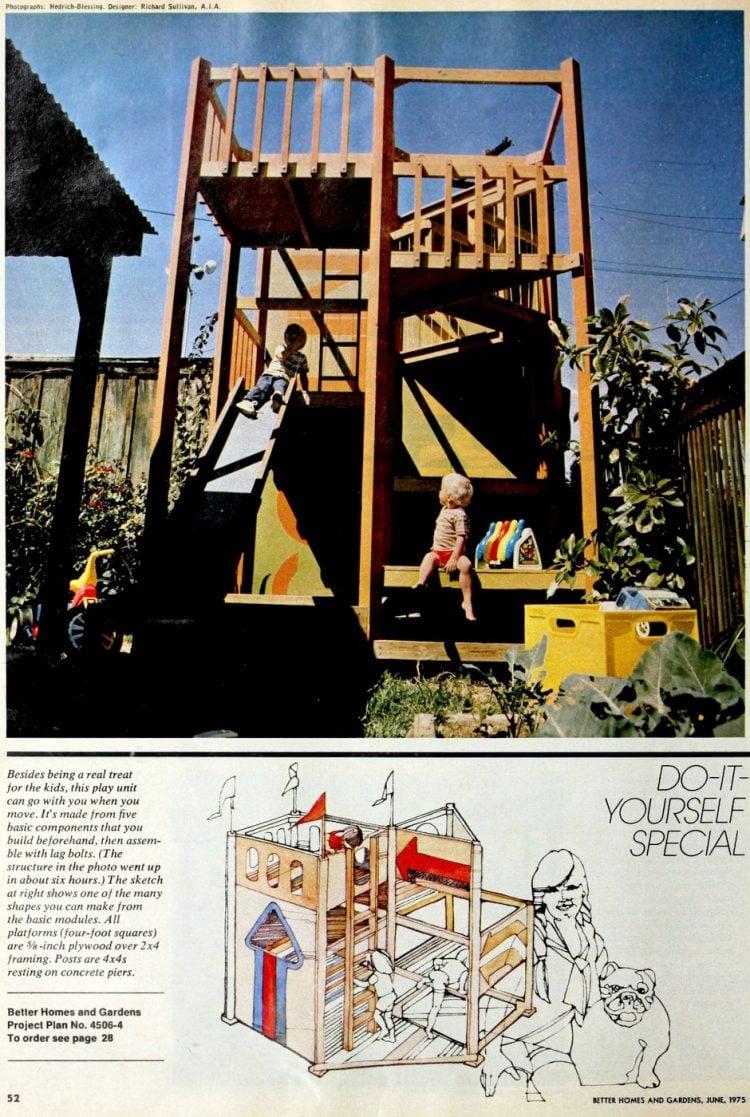 Backyard fort playhouse gym idea from 1975