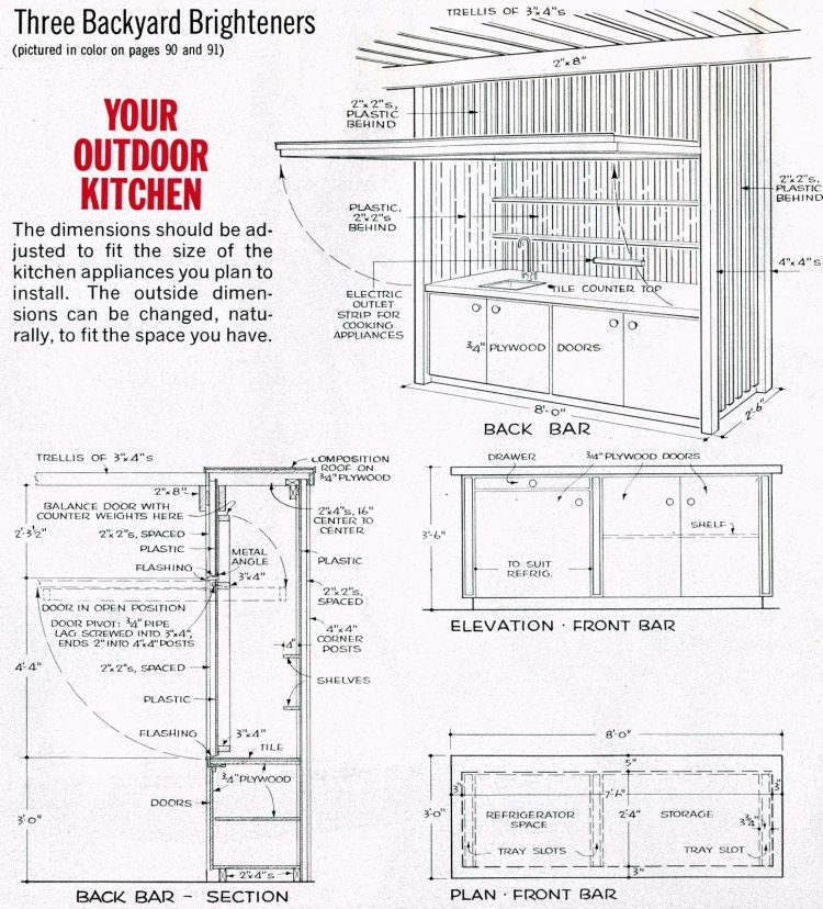 Backyard kitchen design 1965