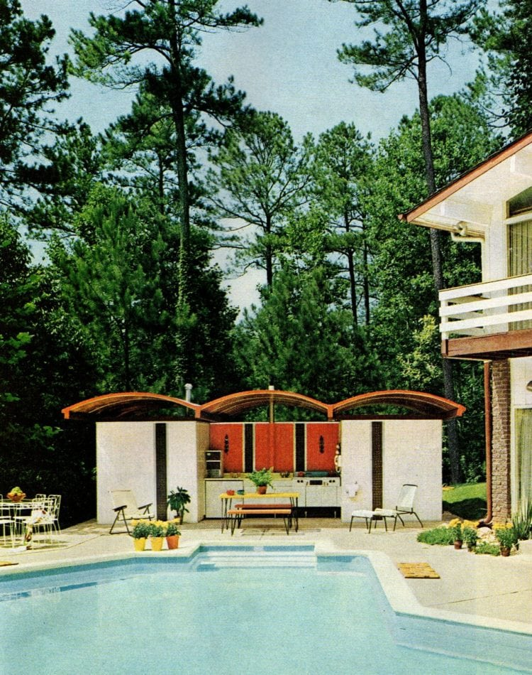 Backyard pool area with outdoor kitchen - vintage home style from 1967