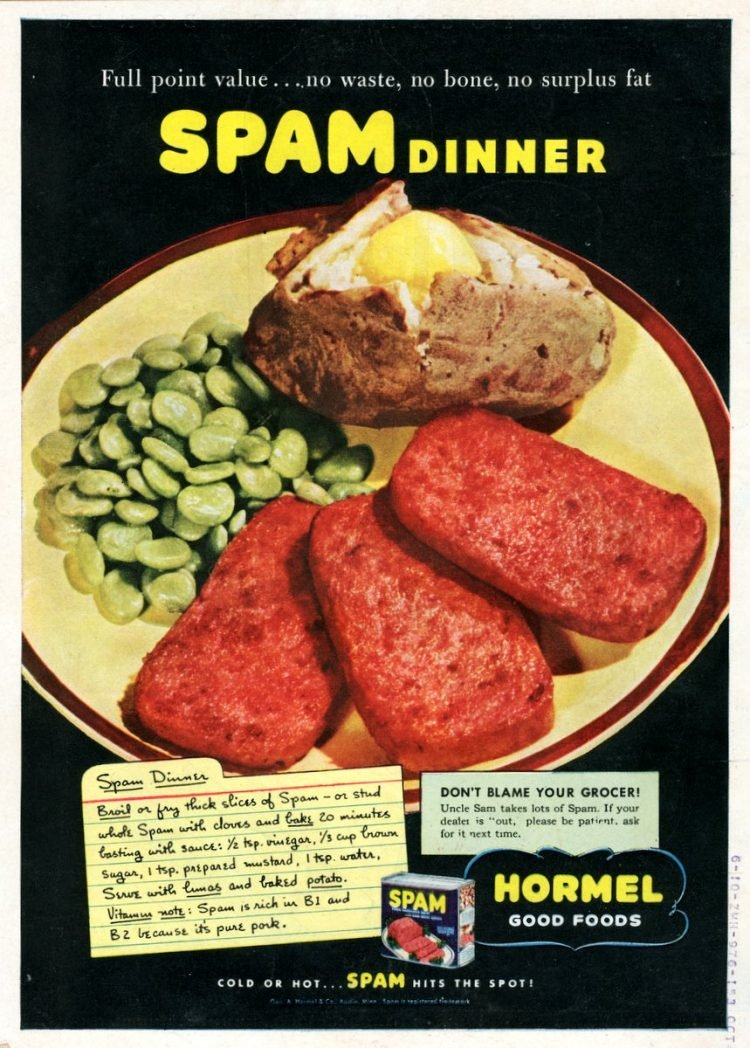 Baked Spam dinner recipe (1943)