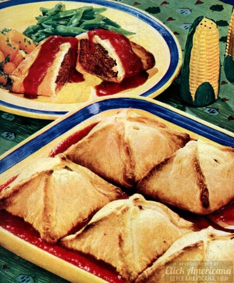 Baked meat loaf dumpling recipe (1950)