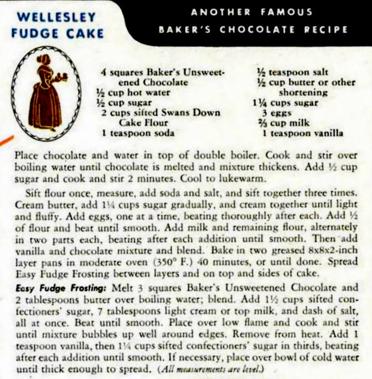 Baker's Chocolate Wellesley fudge cake recipe card