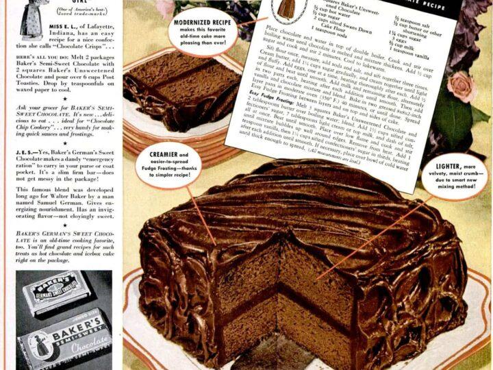 Baker S Chocolate Wellesley Fudge Cake Recipe 1941 Click Americana