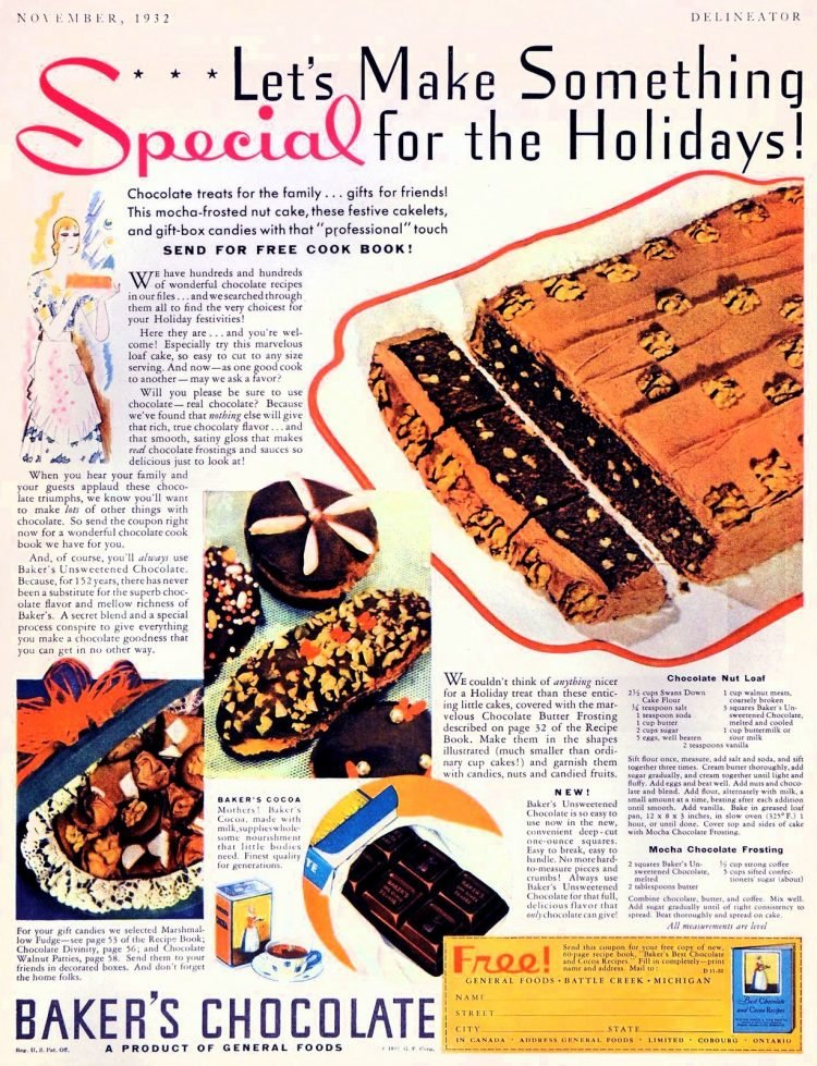 Baker's chocolate nut loaf with mocha frosting Classic dessert delights from 1932
