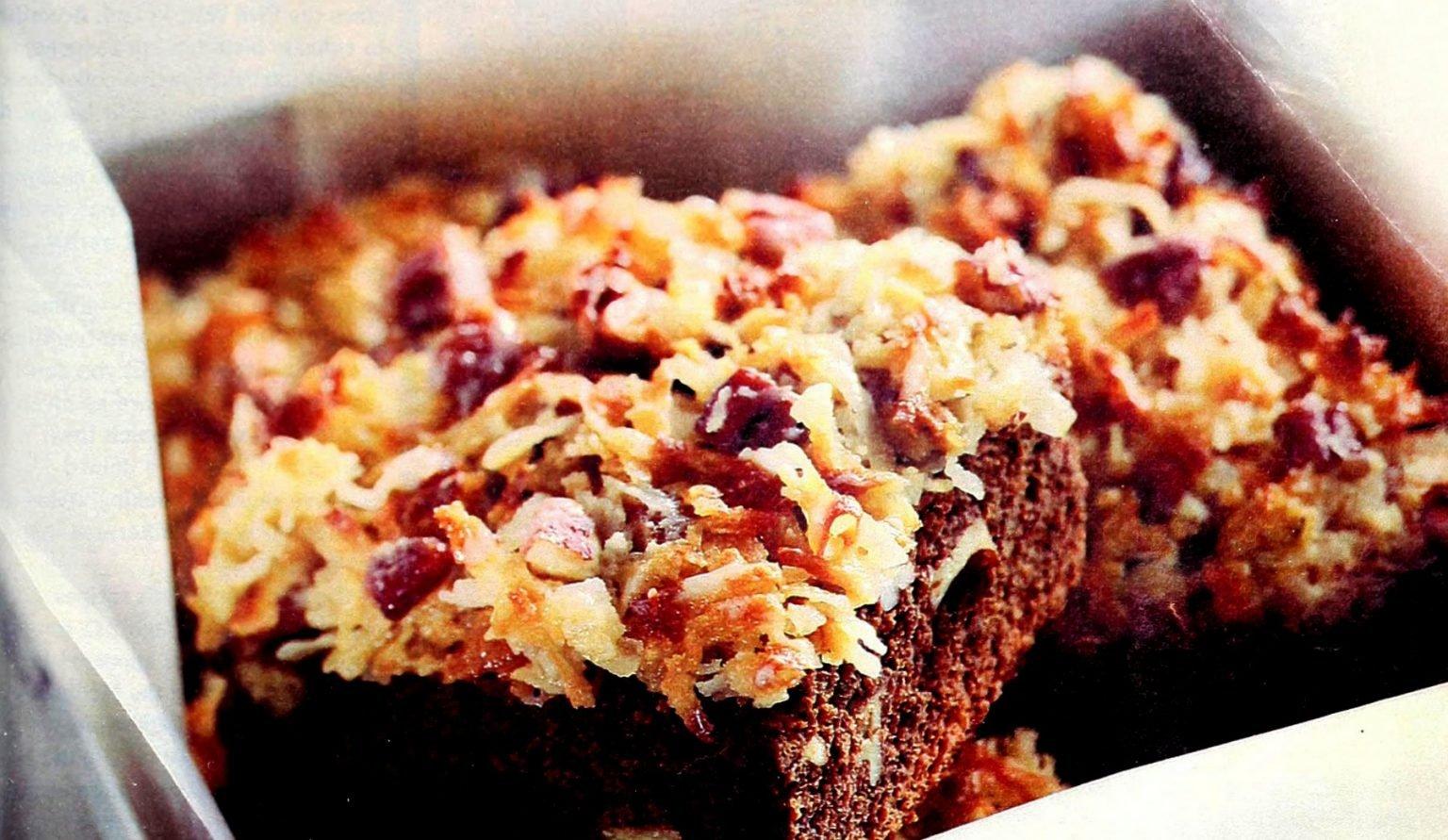 Baker's one-bowl German sweet chocolate brownies, starring chocolate, coconut & nuts 1997