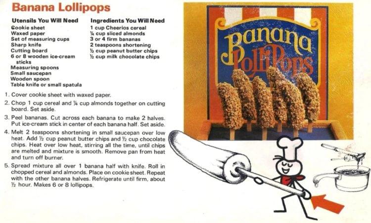 Chocolate, peanut butter & banana lollipops (1980)