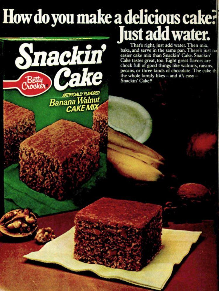 Banana Walnut and chocolate Vintage Snackin Cake mix 1978