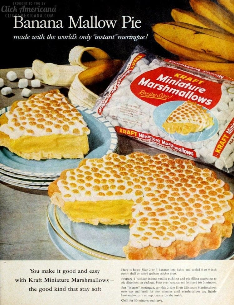 Banana Mallow pie - or Banana-marshmallow pie recipe (1963)
