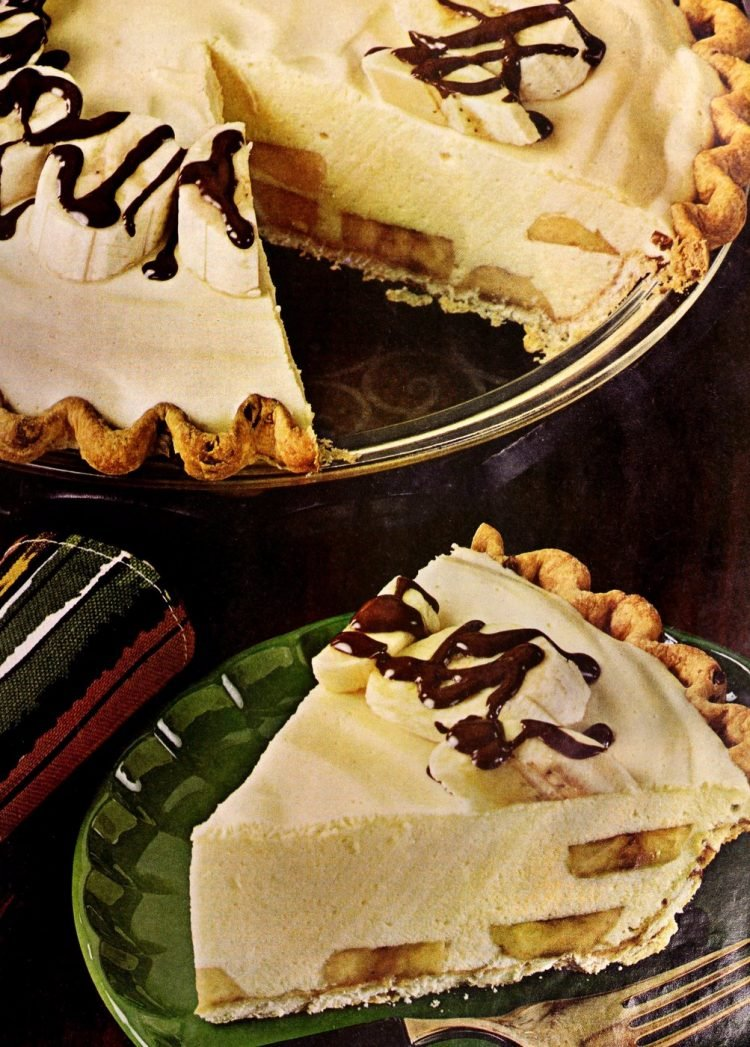 Banana rum pie vintage recipe from the 1960s