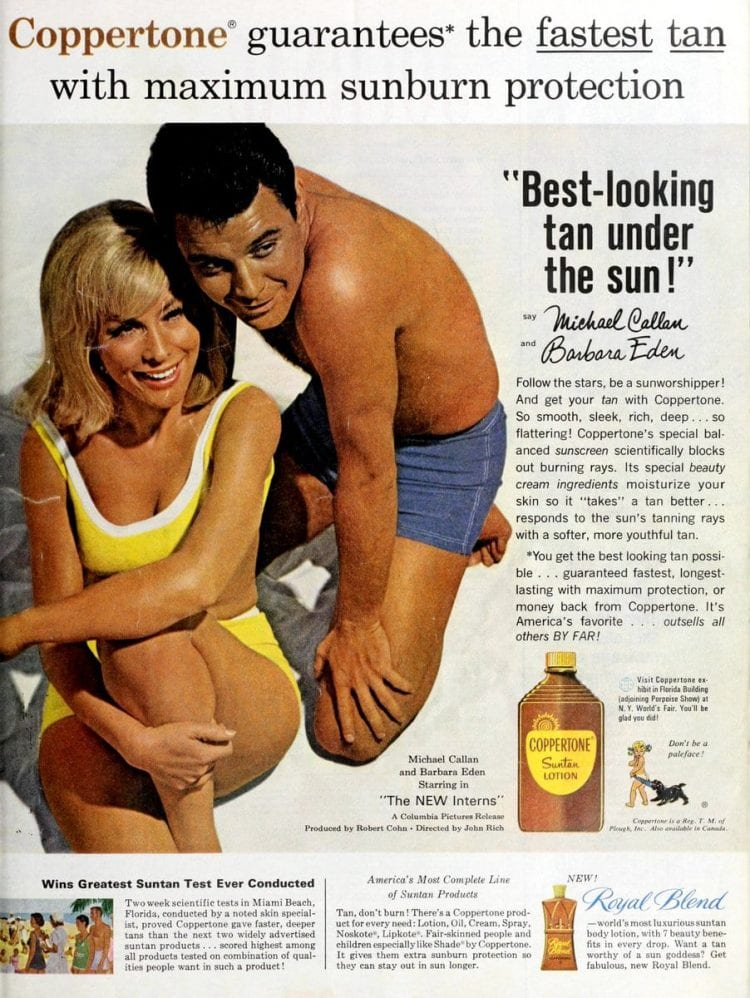 Barbara Eden for Coppertone suntan lotion in 1964