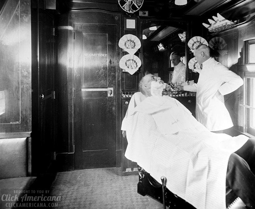 Barber shop on a deluxe overland limited train