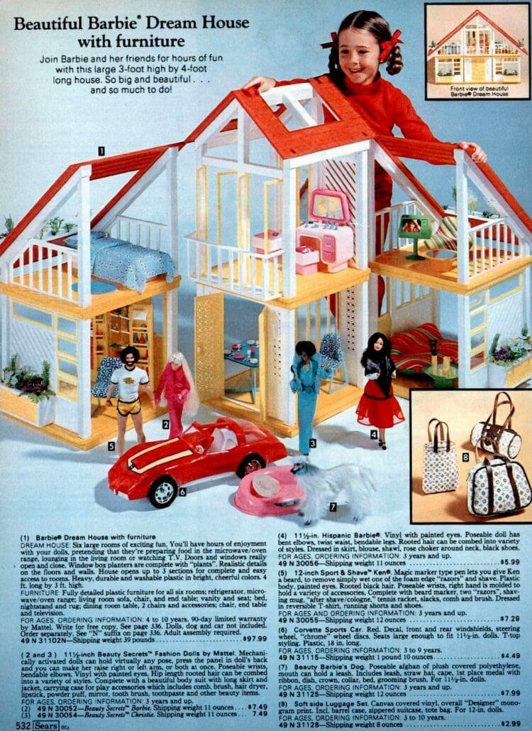 Vintage Barbie Dream House and Malibu Barbie from catalog 1980