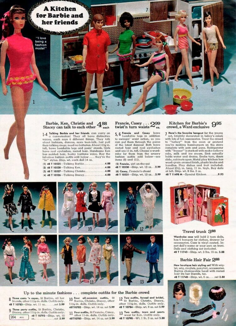 Barbie and her friends from 1969