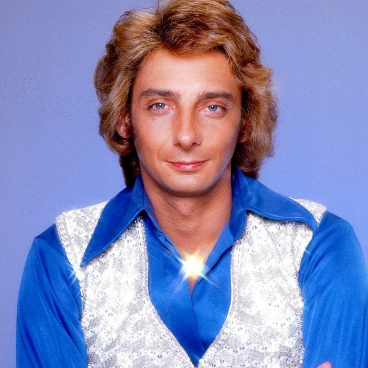 Barry Manilow in blue and silver lame