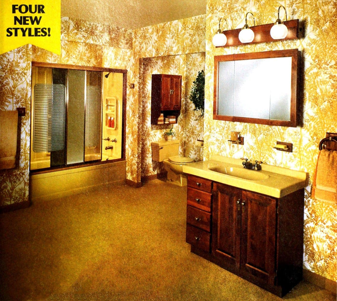 Basic gold and yellow carpeted bathroom with wooden accents from 1978