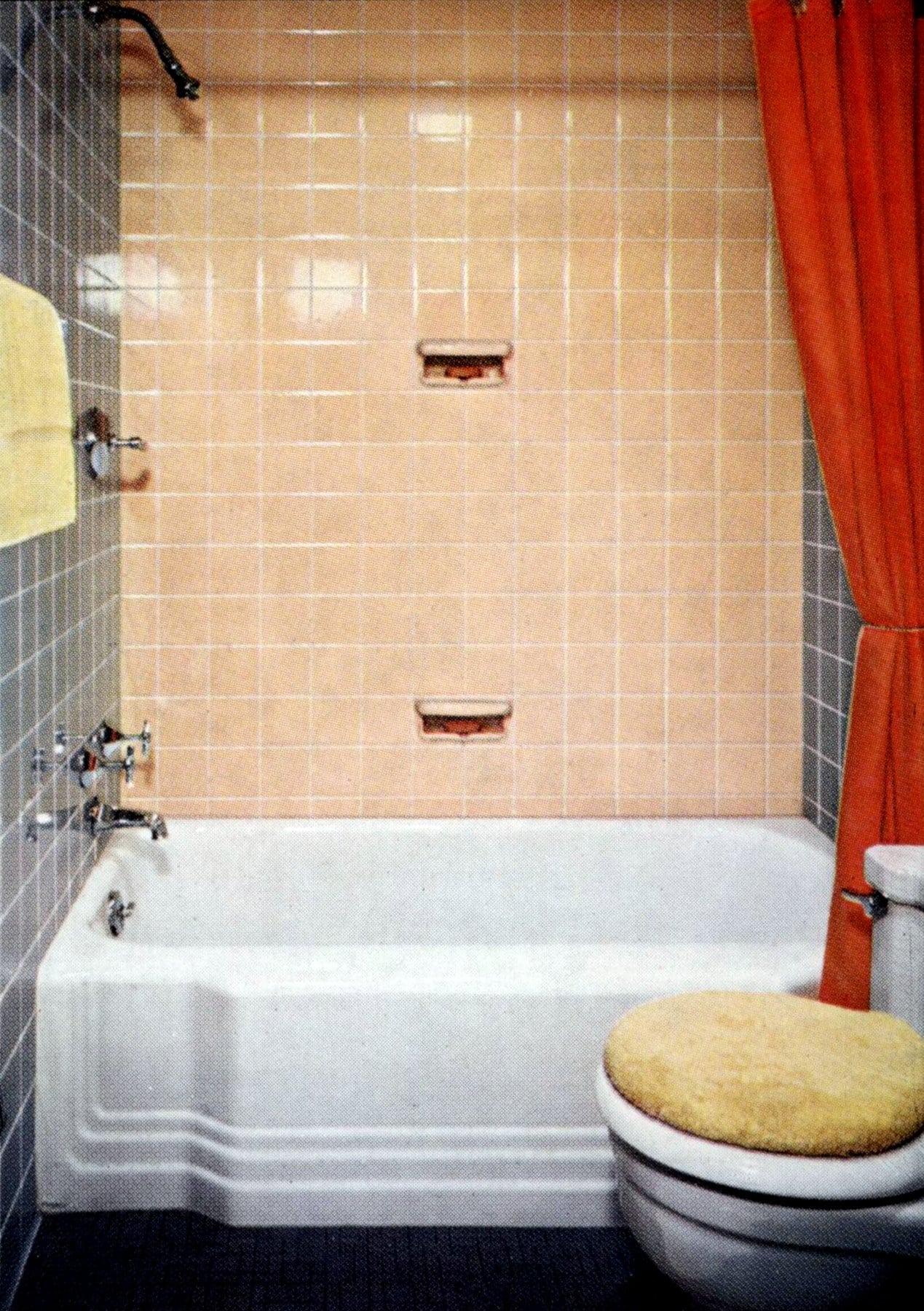 Basic peachy beige and gray bathroom decor from teh 1950s