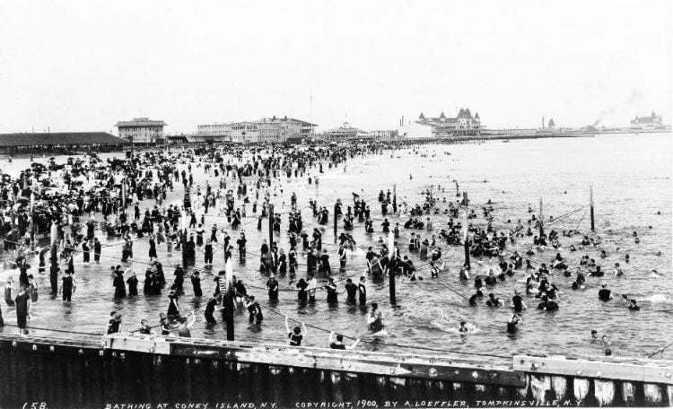 Bathing - swimming in the ocean - at Coney Island NY 1900