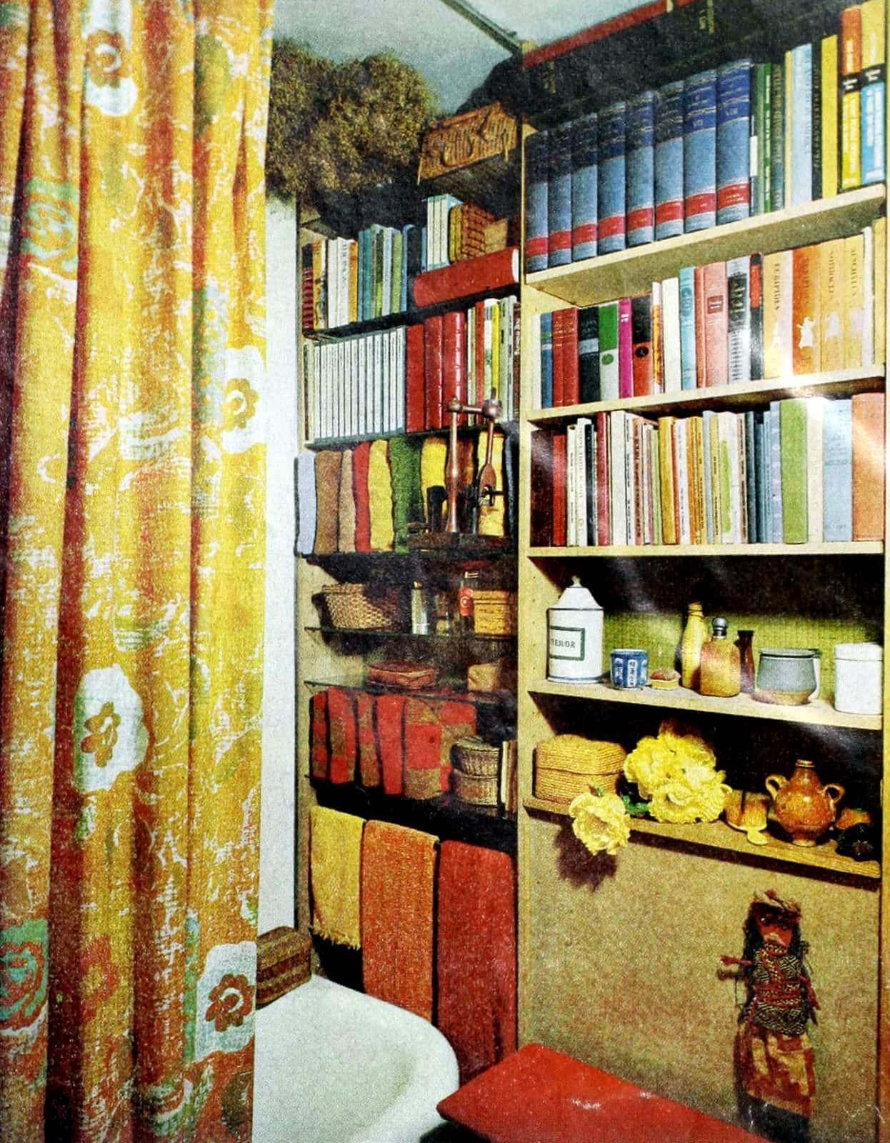 Bathroom bookshelves from 1964