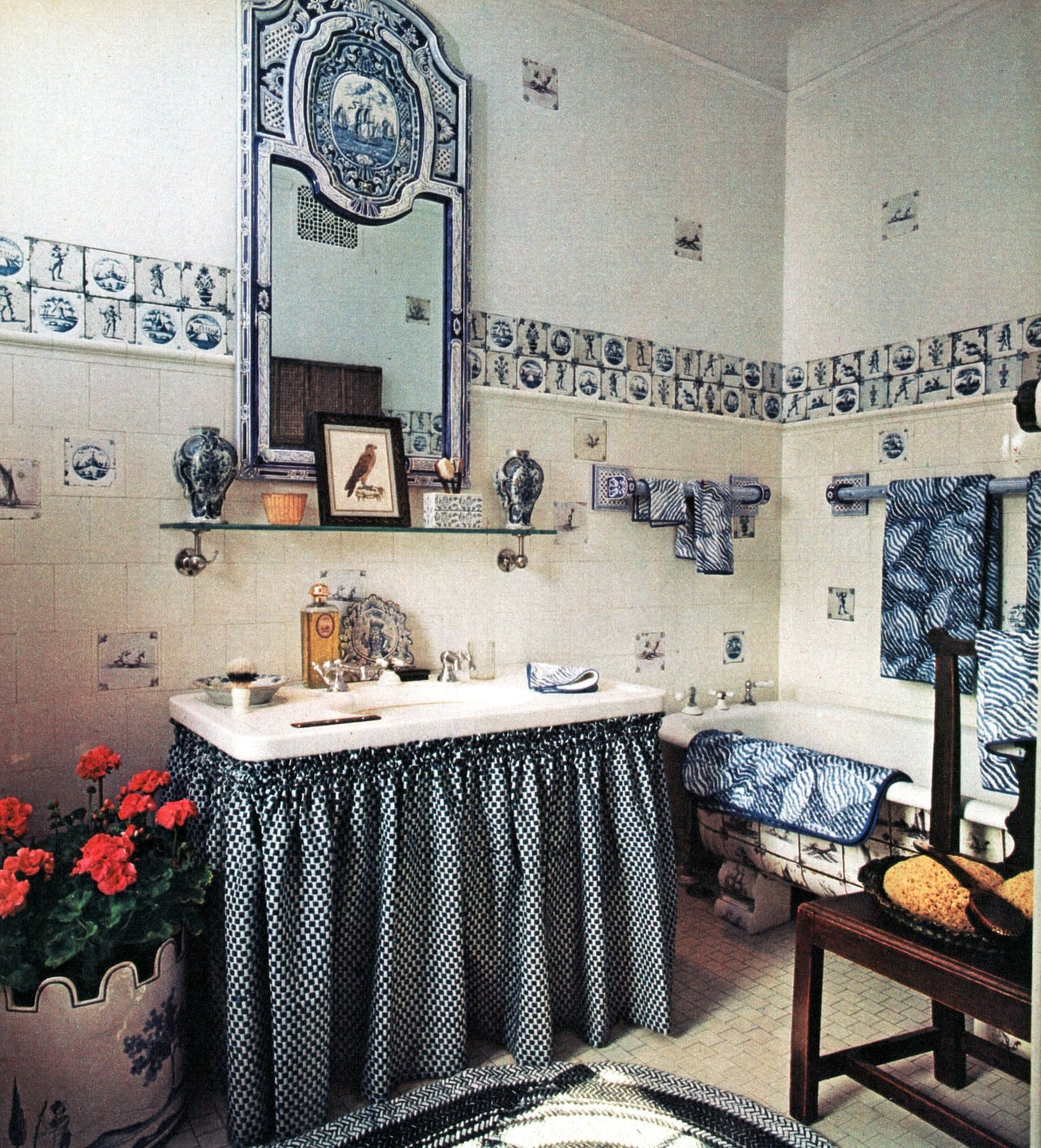 Bathroom decor inspired by a 18th century Delft tile medallion (1981)