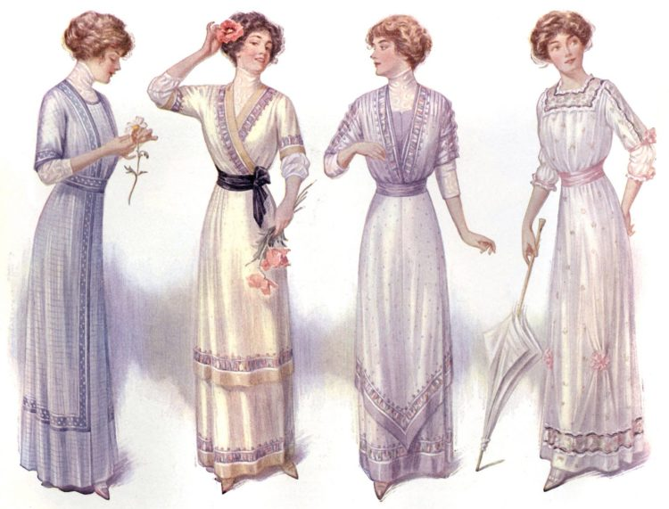 Women wearing fashionable dresses with tips on how to build your very own personality (1917)