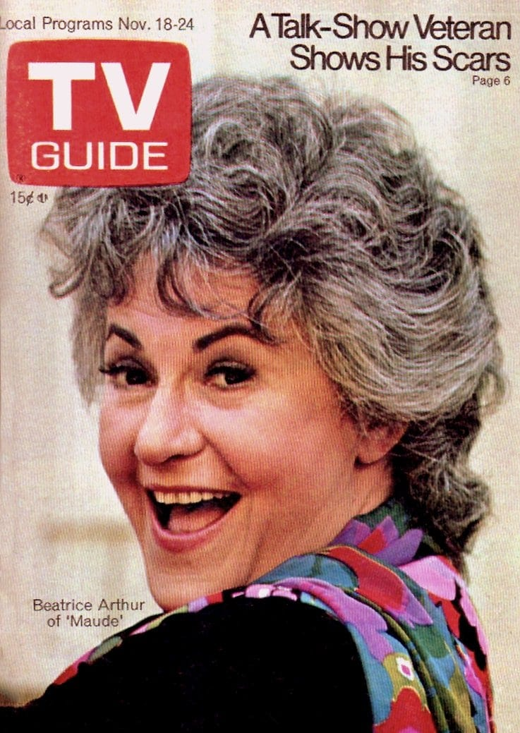 Bea Arthur TV guide cover for Maude 1972