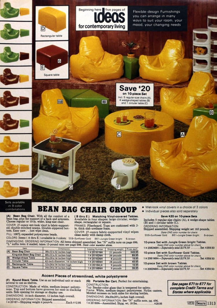 Bean bag chair group - Sears catalog page from the late 1970s