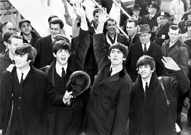 Beatles arriving at John F Kennedy Airport NYC February 7 1964