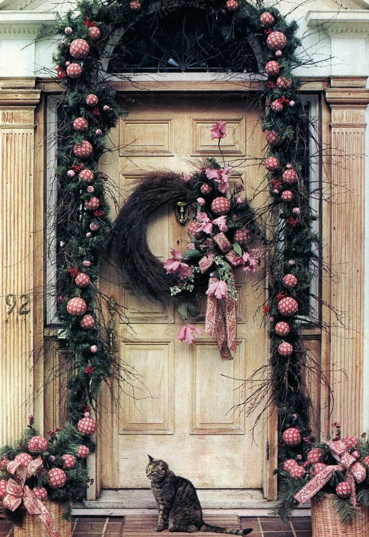 Beautiful Christmas wreath and vintage holiday door decor