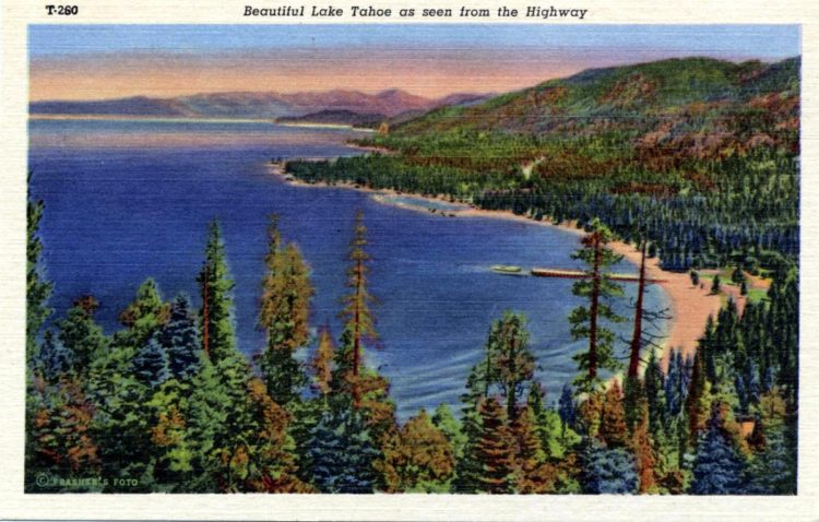 Beautiful Lake Tahoe as seen from the highway - 1940s postcard