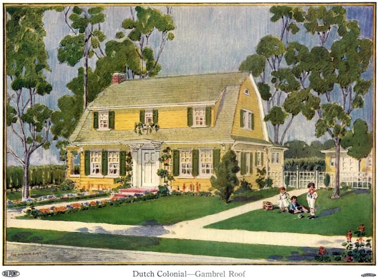 Beautiful homes from 1919 - Dutch Colonial house with a gambrel roof