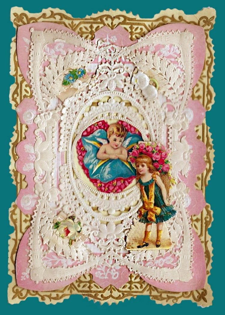 Beautiful intricate Valentine's Day card from the Victorian era (1)