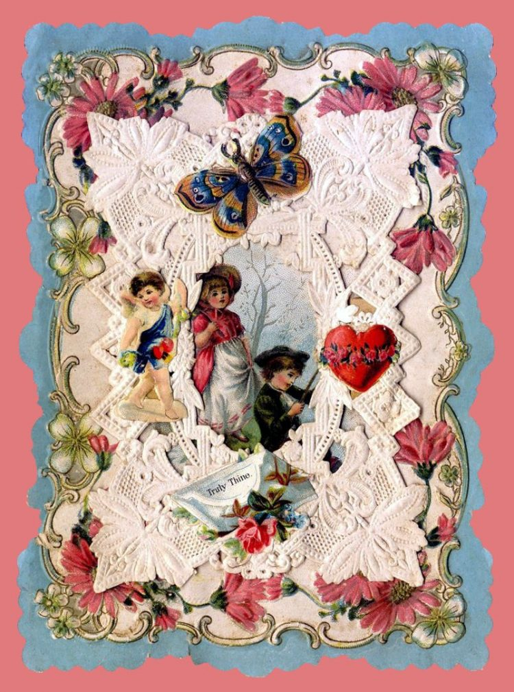 Beautiful intricate Valentine's Day card from the Victorian era (2)