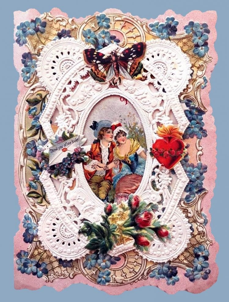 Beautiful intricate Valentine's Day card from the Victorian era (6)