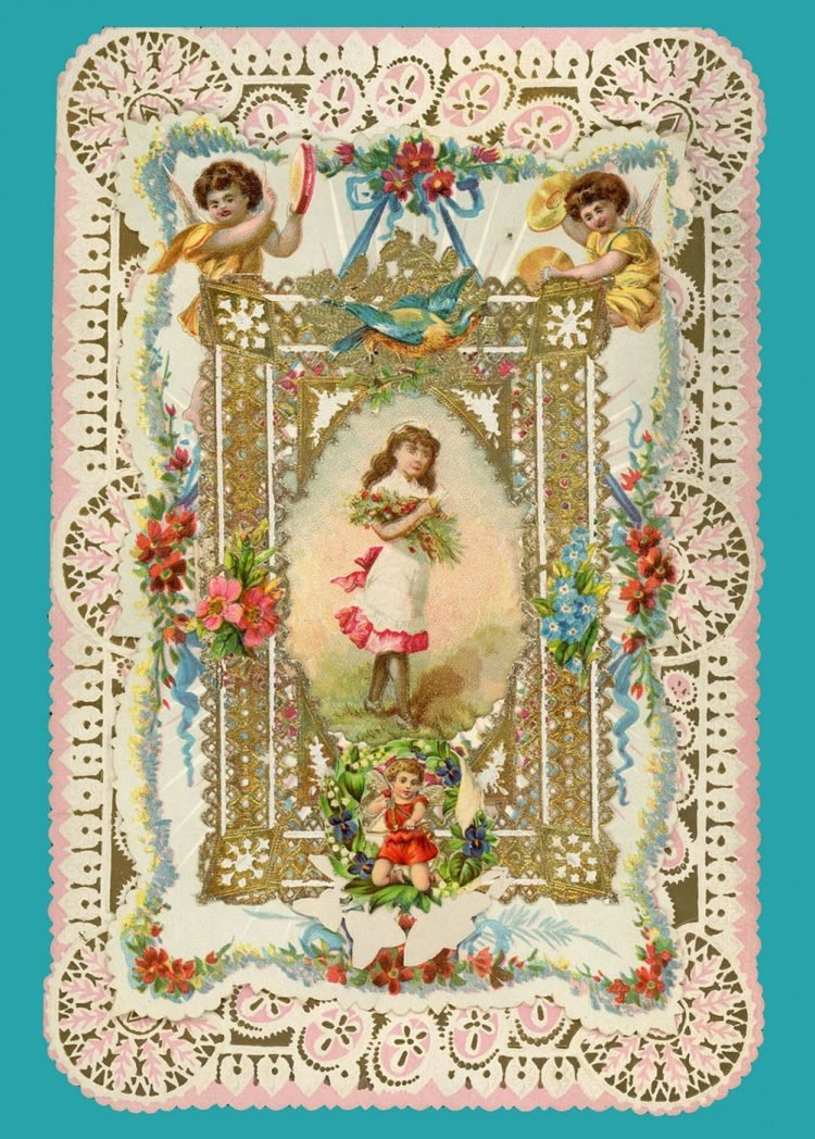 Beautiful intricate Valentine's Day card from the Victorian era (7)