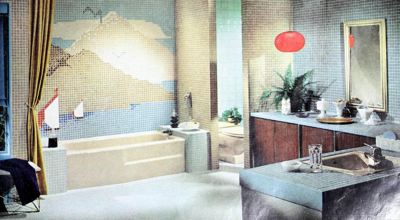 Beautiful large mosaic tile mountain art over bathtub (1965)