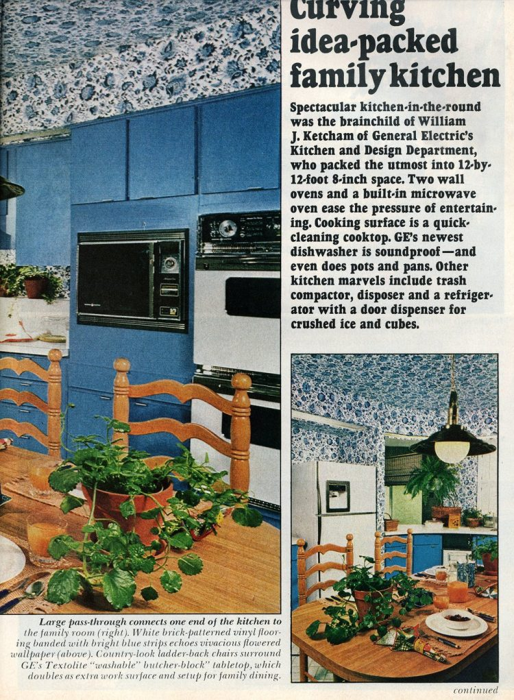 Beautiful practical 1975 model home - Curving idea-packed family kitchen