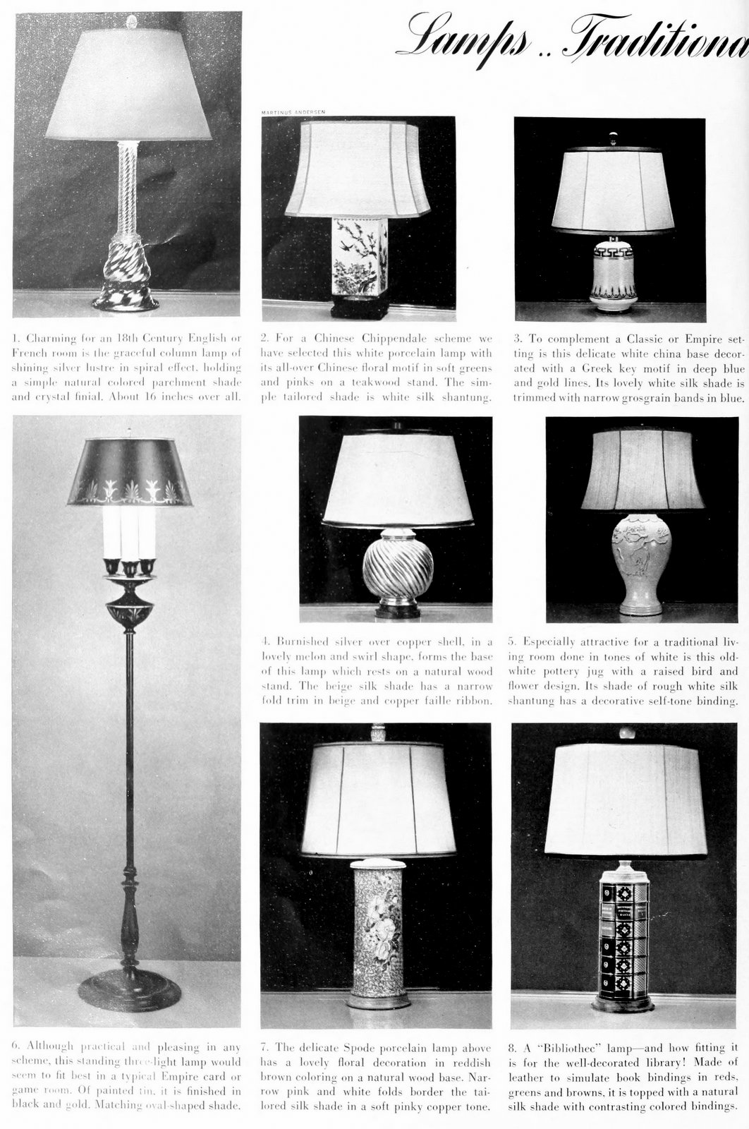 Beautiful traditional lamp styles from 1937