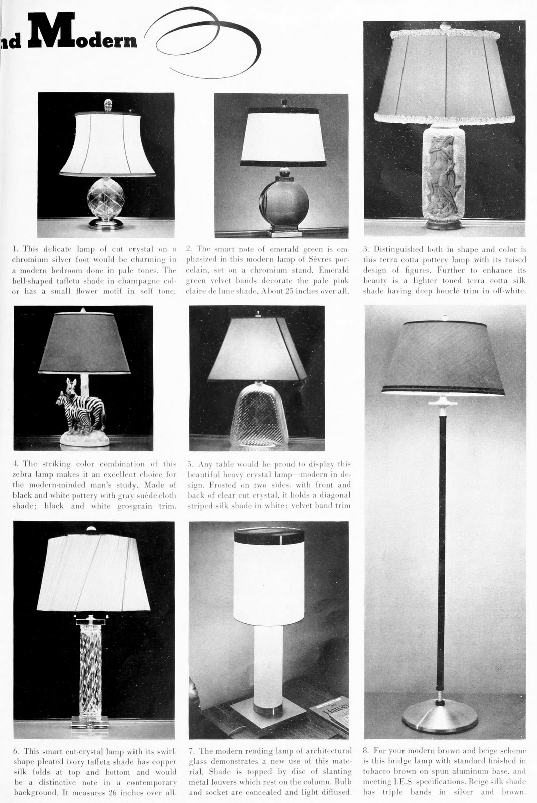 Beautiful vintage 1930s modern lamp styles from 1937