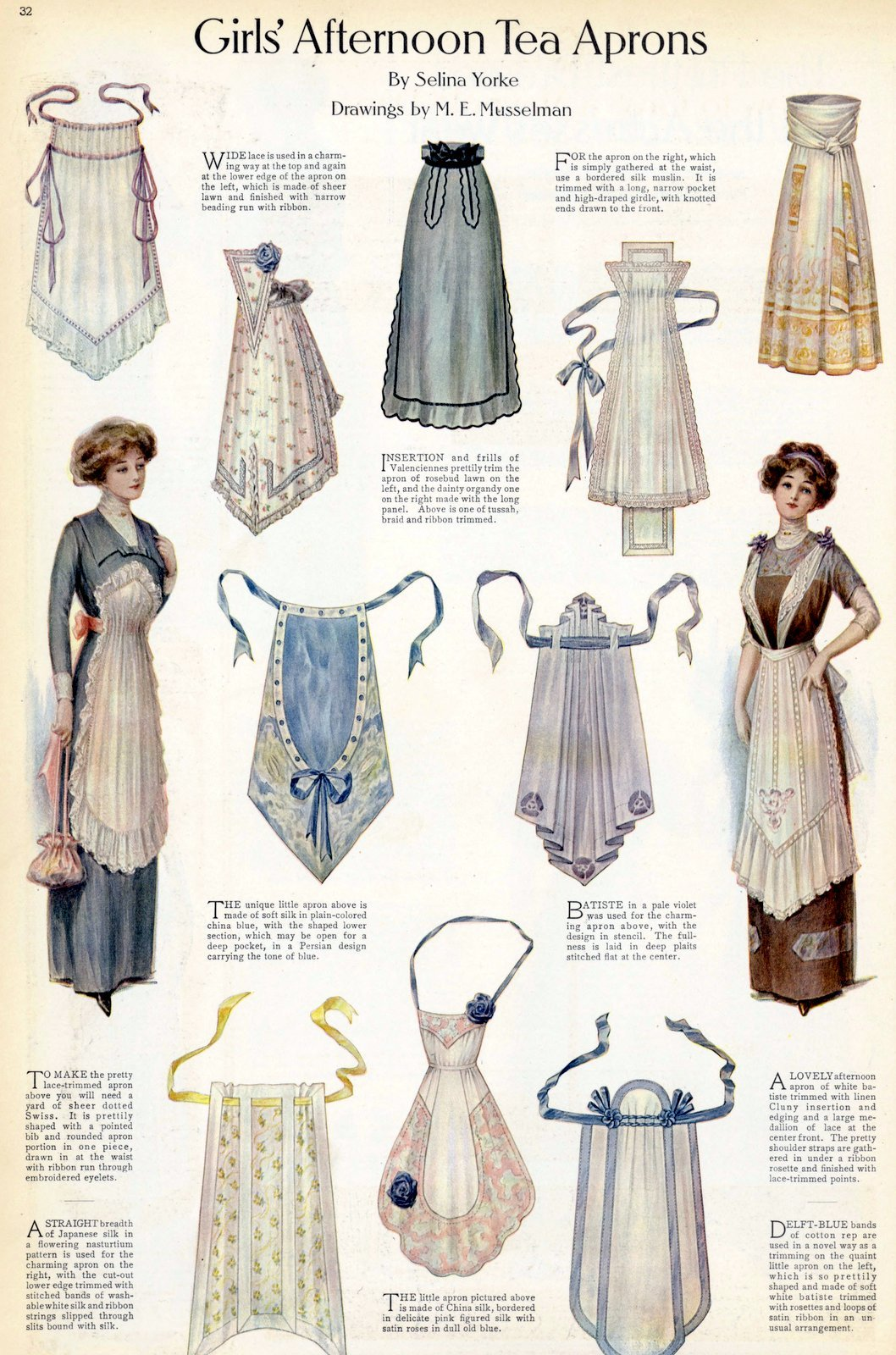 Beautiful vintage aprons from 1911