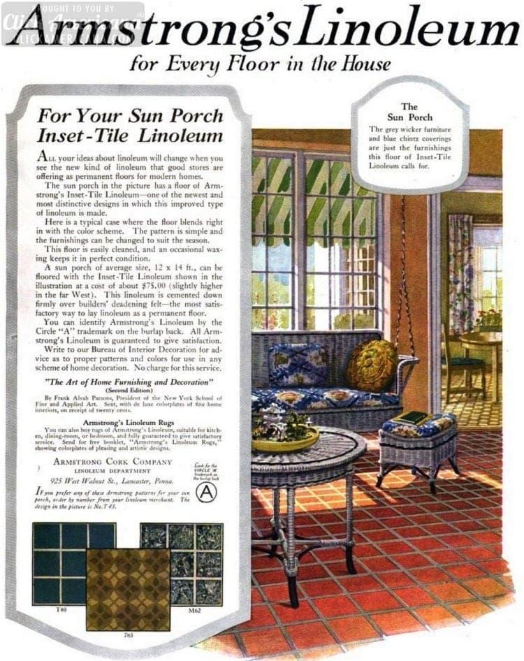 Vintage sun porch linoleum flooring for a '20s home