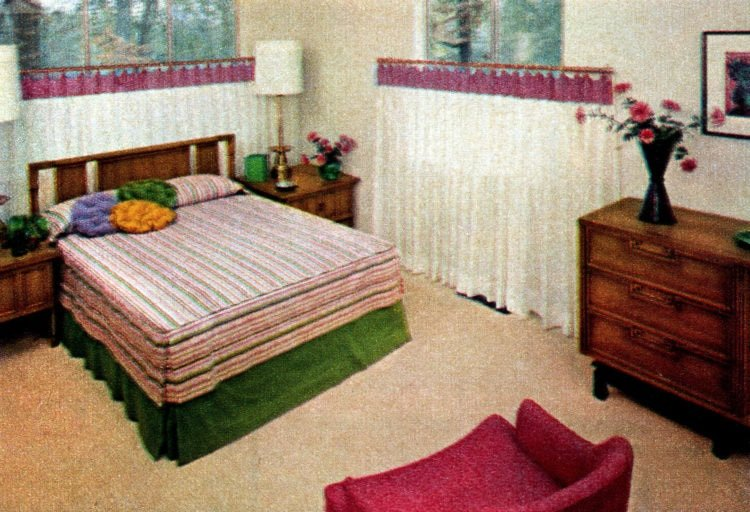 Master bedroom in typical 1950s suburban house