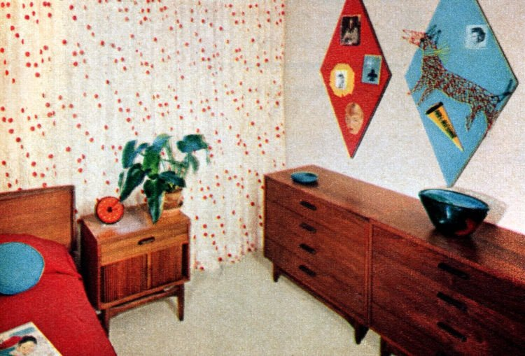 Furnished bedroom in typical prefab home from the '50s