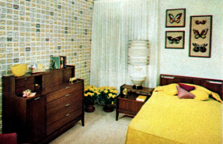 Small bedroom in typical 1950s prefab home