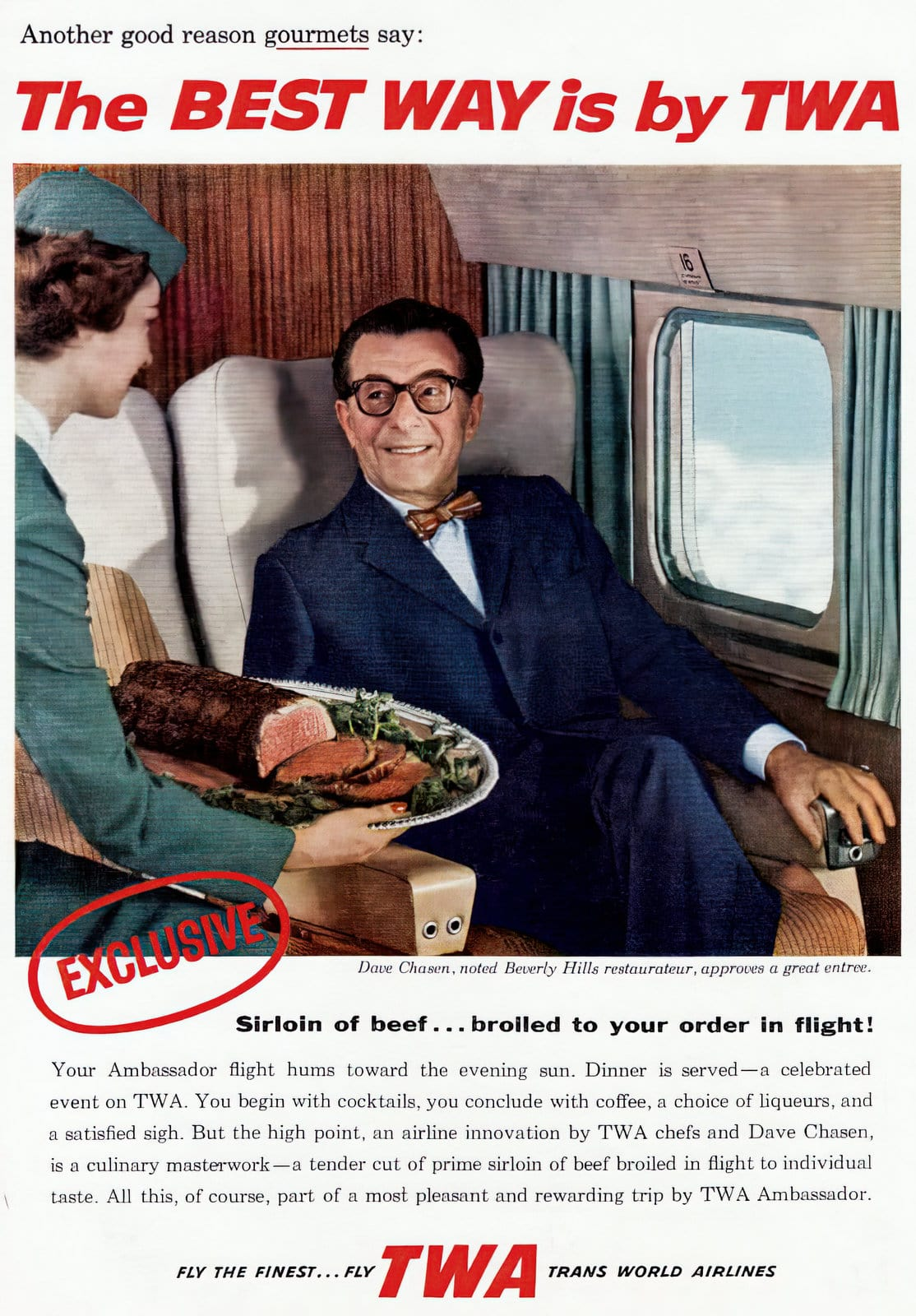 Beef dinner on TWA plane - in-flight meal from the 1950s