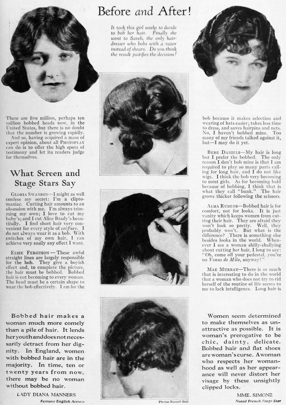 Before and after classic 1920s bob hair cut