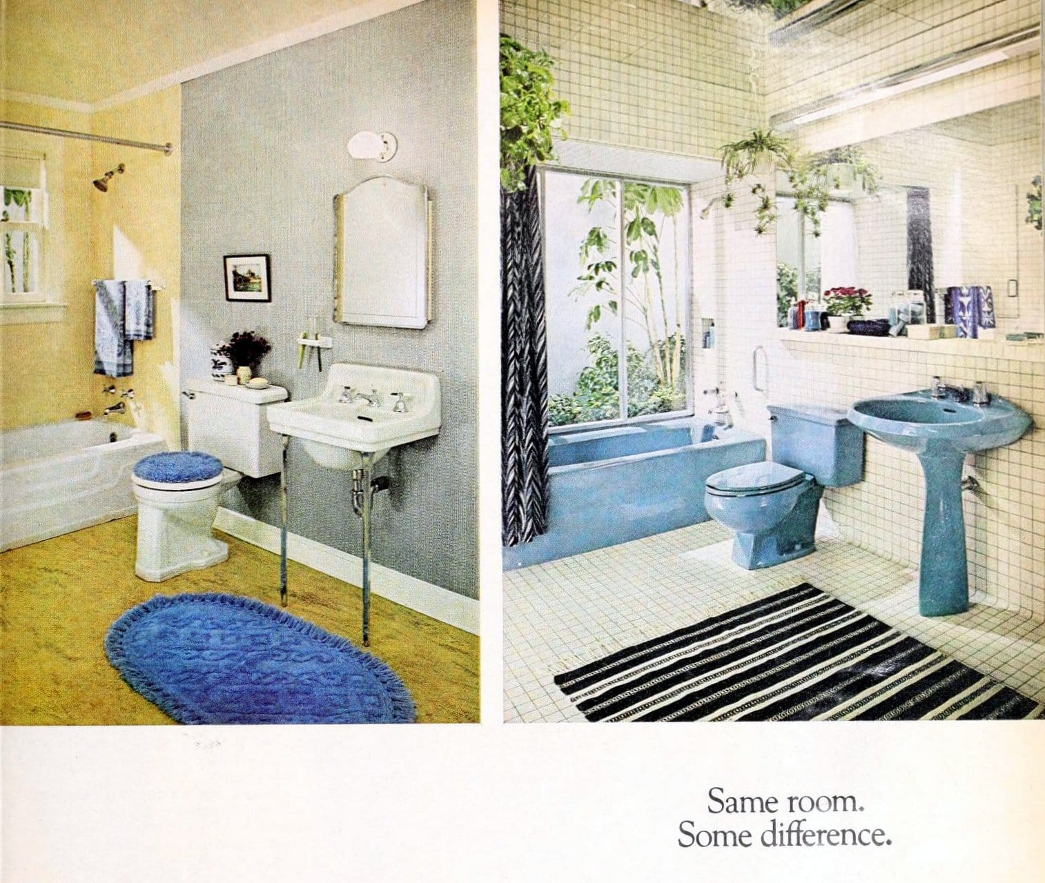 Before and after modernized bathroom decor - 1950s to 1980s